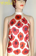GUCCI white with Red & Pink POPPY flowers silk scarf HALTER top NWT Authentic!