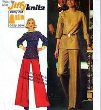 """EASY Vintage 70s WIDE LEG PANTS & TOP Sewing Pattern Bust 38"""" Sz 14 Retro KNITS"""