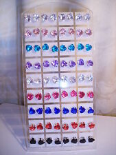 Joblot of 36 Pairs Mixed Heart shape 8mm Crystal stud Earrings - New wholesale