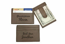 Personalized Engraved Leather Money Clip Brown Groomsman Best Man Usher Gift