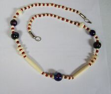 Pretty Southwest Carved ? and Millefiori Glass Necklace