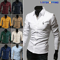 Mens Casual Plain T-shirt Long Sleeve Slim Fit Formal Business Dress Shirts Tops