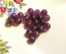 #617RE Vintage Glass Cabochons Amethyst Faceted 10x6mm Oval  NOS Flat Bottom