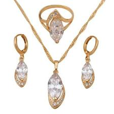 Fashion jewelry set 18k gold Filled Crystal Ring Earrings Necklace sz 9 JS195