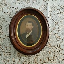 Antique Original Oil Painting Photograph Wood Brass Oval Frame Henry Longfellow