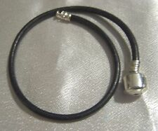 New, Leather with Sterling Silver ends, European Sliding Bead Bracelet, 9""