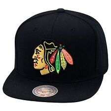 Mitchell & Ness Chicago Blackhawks Snapback Hat Cap All Black/Regular Chief