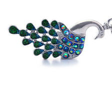 Royal Blue Green Peacock Bird Car Key Chain Ring Holder Purse Charm Jewelry k4