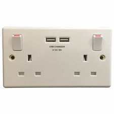 NEW GSM AUDIO SPY BUG IN DOUBLE MAINS SOCKET with 2A USB Charger MODERN UK STYLE