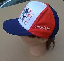 Coca-Cola 1984 Olympics Licensed Snapback Foam Trucker Mesh Hat Small Very Good