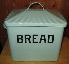 Bread Box for Kitchen Vintage Look Blue Enameled Metal Storage Bin Large Decor