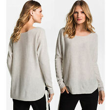 VINCE Shirttail Sweater Cashmere Boatneck Oversized Boxy High Low Hi Lo Hem Grey