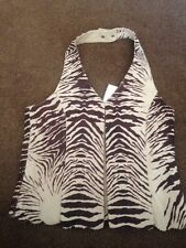 Waistcoat Halterneck 100% Leather Animal Print Brown  Beige Size 12 New