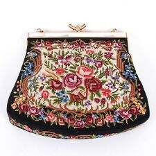 VINTAGE HANDMADE EXQUISITE PETIT POINT EMBROIDERY HANDBAG WITH MOTHER OF PEARL