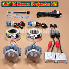 "3.0"" Latest LED Angel Eye AC 35W HID BI-Xenon Projector Lens Headlight Kit 124Y"
