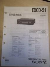 Sony Service Manual~EXCD-51 CD Compact Disc Player~Original~Repair