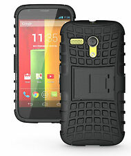 Black Heavy Duty Tradesman Strong Case Cover Stand For Motorola Moto G 4G LTE