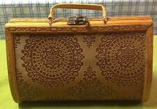 Vintage Wood Purse w/ Embossed Leather Mint Condition
