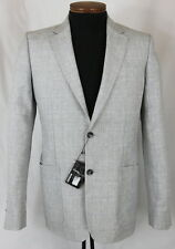 Men's MURANO White Gray Blue Plaid Linen Jacket Blazer Large L NWT NEW