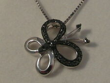 Q53 Ladies 9ct white gold black diamond set butterfly pendant & chain necklace