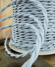 Silver Gray Cloth Covered Twisted Wire - Lamp Cord - Antique Fan - Pendant Wire