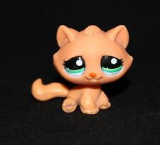 Littlest Pet Shop Solid Orange TABBY CAT #2603 Green Eyes tangerine