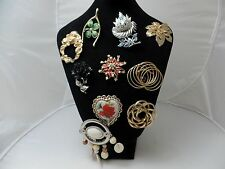 Vintage Fashion Rhinestone Enamel   Brooch Pins 10 pc Lot