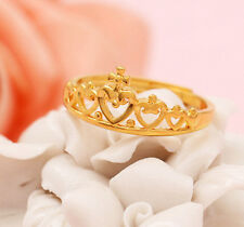 Super cute adjustable gold tone crown ring