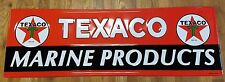 "TEXACO MARINE PRODUCTS RED STAR GREEN T 42"" LONG STEEL GAS OIL ADVERTISING SIGN"