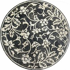 Wild Black Floral Pool Floor Wall Decor Round Marble Mosaic MD991
