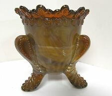DEGENHART BROWN CHOCOLATE SLAG GLASS TOOTHPICK HOLDER FORGET-ME-NOT DESIGN