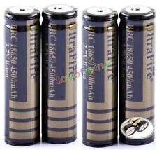 4pcs 18650 3.7V Li-ion 4500mAh Protected Rechargeable Battery Cell Blk