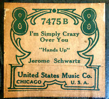 United States Music Co. I'M SIMPLY CRAZY OVER YOU 7475B Player Piano Roll