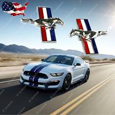 2x Mustang Running Horse Chrome Finish Pony Tri Bar Emblems Side Fender Badge