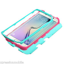 For Samsung GALAXY S6 EDGE + Hybrid ShockProof Rubber Hard Case Cover TEAL PINK