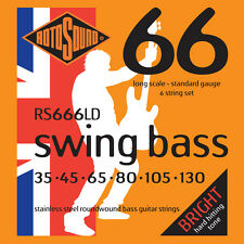 ROTOSOUND RS666LD STAINLESS STEEL BASS STRINGS, STANDARD GAUGE 6's - 35-130