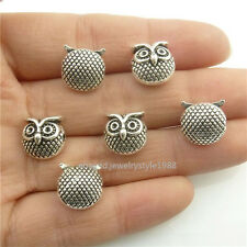18492 15pcs Vintage Silver Alloy Animal 11mm Owl Spacer Beads Pendant Jewelry