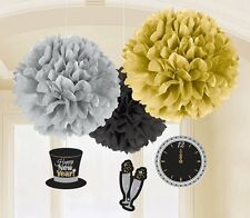 3 Happy New Year Party Champagne Celebration Hanging Fluffy Decoration