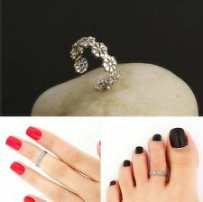 Vintage Small Daisy Flower Joints Ring Beach Jewelry Retro Carved Adjustable Toe