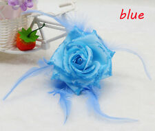 1PCS Blue Feather Rose Corsage Wrist Flower Romantic Bridal Headpieces brooch