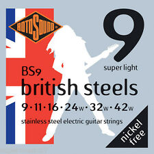 Rotosound BS9 British Stainless Steel Electric Guitar Strings 09-42 Super Light