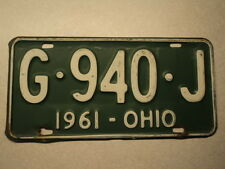 1961 OHIO License Plate G 940 J OH