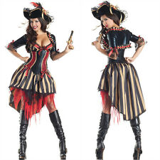 Halloween Fancy Dress Pirate Costume Adult Womens Wench Girls Sexy Swashbuckler