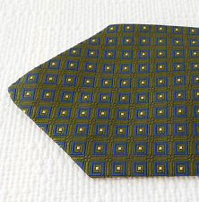 Mens patterned silk tie NEW green and blue check Woven pattern All Silk SHORT