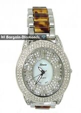 ladies silver tone fashion party watch CZ ice out tortoise shell link bracelet