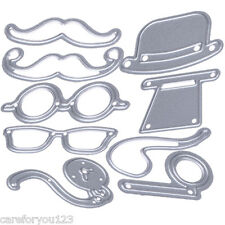 9pcs Hat Glasses Beard Pipe Cutting Dies Stencils Scrapbooking Embossing Craft