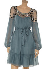 Alice by Temperley mini antona silk Dress cinnamon mix Size UK 8 RRP £ 625