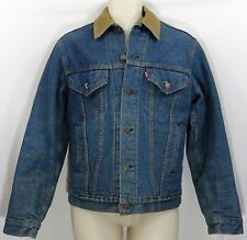 Vtg Levis Trucker Denim Jean Jacket Ford Patch Corduroy Collar Blanket Lining