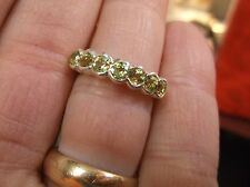 EXCELLENT VTG? LADIES STERLING SILVER RING WITH 7 DEEP GREEN CITRINE GEMSTONES