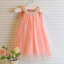 Mädchen Kinder Prinzessin Chiffon Perle Kommunion Hochzeit Festkleid Sommerkleid